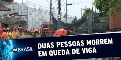 Equipes resgatam corpos de duas pessoas atingidas por viga de concreto no RJ