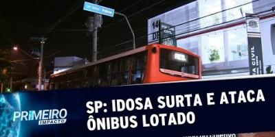 Idosa surta, rouba e ameaça atear fogo em ônibus lotado | Primeiro Impacto (27/08/19)