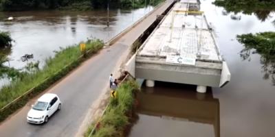 Cabeceira de ponte começa a desabar na RO 135 em Rondônia
