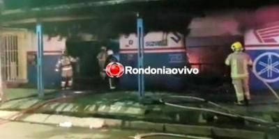 CRIMINOSO: Incêndio de grandes proporções destrói oficina de motos na zona Sul
