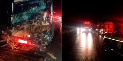 Motorista colide com o caminhão em carreta e fica preso às ferragens na BR-364