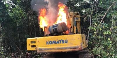 Polícia Federal destrói máquinas em terras indígenas em Rondônia