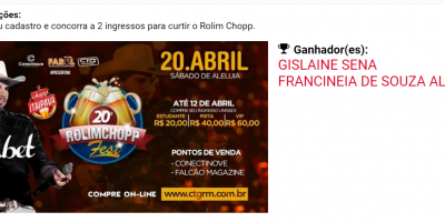 ROLIM CHOPP FEST: SORTEIO REALIZADO COM SUCESSO