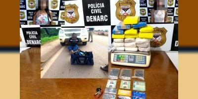 DENARC: Trio é preso com cerca de 20 kg de droga após intensa perseguição na BR-364