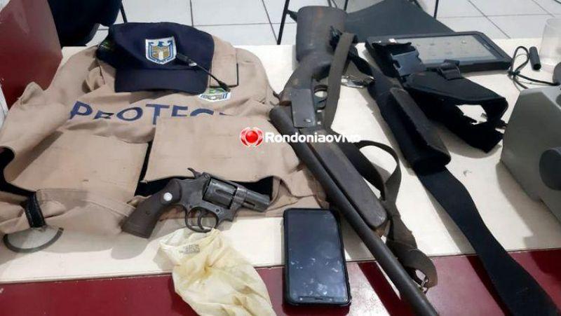 DENUNCIADO: Suspeito é preso com carro clonado, armas e colete balístico