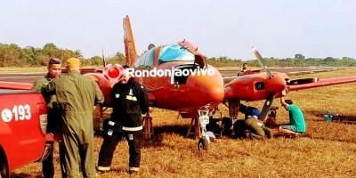 PNEU ESTOUROU: Aeronave do Corpo de Bombeiros sai da pista no aeroporto de Porto Velho
