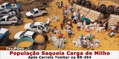 VÍDEO: População SAQUEIA CARGA de MILHO Após Carreta Tombar na BR-364