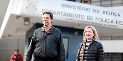 Gleisi e Haddad visitam Lula para discutir saída da prisão