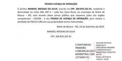 PEDIDO DE LICENÇA DE OPERAÇÃO - MANOEL MESSIAS DA SILVA