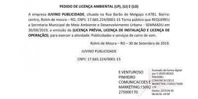 PEDIDOS DE LICENÇAS - JUVINO PUBLICIDADE