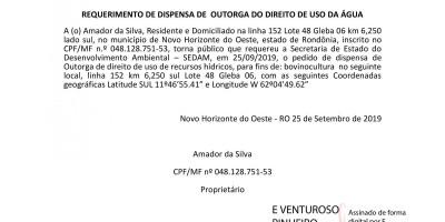 REQUERIMENTO DE DISPENSA DE  OUTORGA DO DIREITO DE USO DA ÁGUA - AMADOR DA SILVA