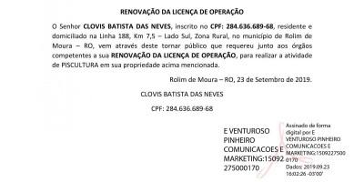 RENOVAÇÃO DA LICENÇA DE OPERAÇÃO - CLOVIS BATISTA DAS NEVES