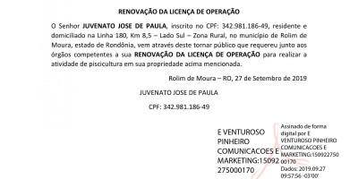RENOVAÇÃO DA LICENÇA DE OPERAÇÃO - JUVENATO JOSE DE PAULA