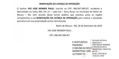 RENOVAÇÃO DA LICENÇA DE OPERAÇÃO - IVO JOSE RENNER PAULI