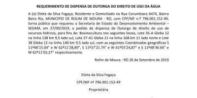 REQUERIMENTO DE DISPENSA DE OUTORGA DO DIREITO DE USO DA ÁGUA - ELIETE DA SILVA FOGAÇA