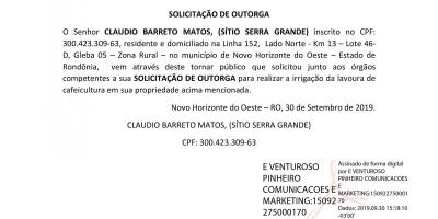 SOLICITAÇÃO DE OUTORGA - CLAUDIO BARRETOS MATOS