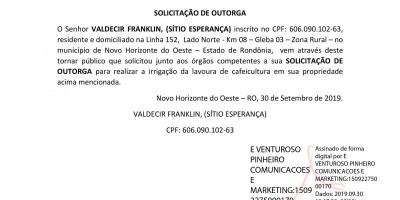 SOLICITAÇÃO DE OUTORGA - VALDEDIR FRANKLIN