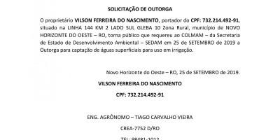 SOLICITAÇÃO DE OUTORGA - VILSON FERREIRA DO NASCIMENTO
