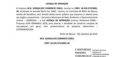LICENÇA DE OPERAÇÃO - M.R. GONÇALVES COMERCIO EIRELI