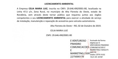 LICENCIAMENTO AMBIENTAL - CELIA MARIA LUIZ