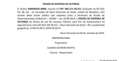 PEDIDO DE DISPENSA DE OUTORGA - ANDERSON NINKI