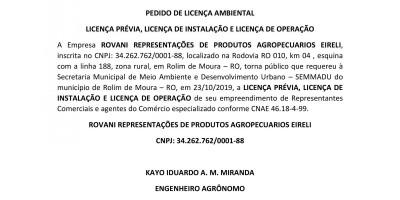 PEDIDO DE LICENÇA AMBIENTAL - LP - LI - LO - ROVANI REPRESENTAÇÕES DE PRODUTOS...