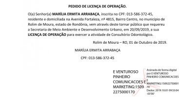 PEDIDO DE LICENÇA DE OPERAÇÃO  -  MARÍLIA ERMITA ARRABAÇA