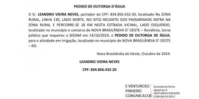 PEDIDO DE OUTORGA D'ÁGUA - LEANDRO VIEIRA NEVES