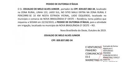 PEDIDO DE OUTORGA D'ÁGUA  - OSVALDO DE MELO ALVES JUNIOR