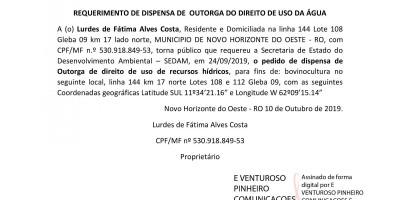 REQUERIMENTO DE DISPENSA DE  OUTORGA DO DIREITO DE USO DA ÁGUA - Lurdes de Fátima Alves...