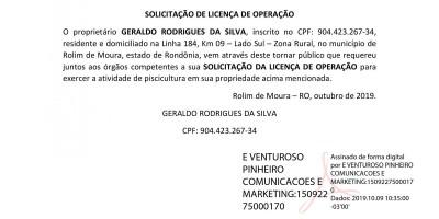SOLICITAÇÃO DA LICENÇA DE OPERAÇÃO - GERALDO RODRIGUES DA SILVA