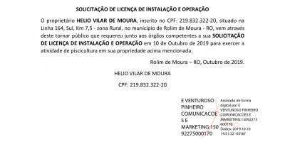 SOLICITAÇÃO DE LICENÇA DE INSTALAÇÃO E OPERAÇÃO - HELIO VILAR DE MOURA