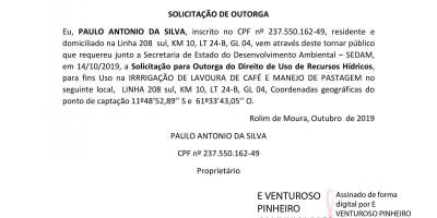 SOLICITAÇÃO DE OUTORGA - PAULO ANTÔNIO DA SILVA