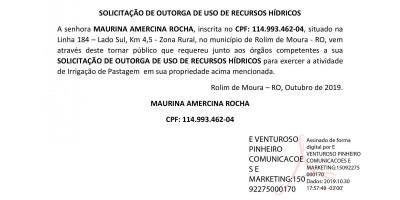 SOLICITAÇÃO DE OUTORGA DE USO DE RECURSOS HÍDRICOS - MAURINA AMERCINA ROCHA