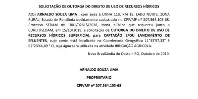 SOLICITAÇÃO DE OUTORGA DO DIREITO DE USO DE RECURSOS HÍDRICOS - ARNALDO SOUZA LIMA
