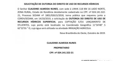 SOLICITAÇÃO DE OUTORGA DO DIREITO DE USO DE RECURSOS HÍDRICOS - CLAUDINEI ALMEIDA...