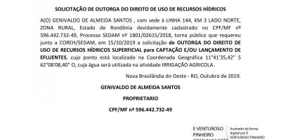 SOLICITAÇÃO DE OUTORGA DO DIREITO DE USO DE RECURSOS HÍDRICOS - GENIVALDO DE ALMEIDA...