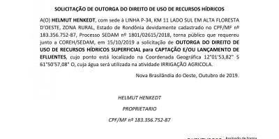 SOLICITAÇÃO DE OUTORGA DO DIREITO DE USO DE RECURSOS HÍDRICOS - HELMUT HENKEDT