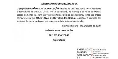 SOLICITAÇÃO DE OUTORGA - JOÃO ELCIO DA CONCEIÇÃO