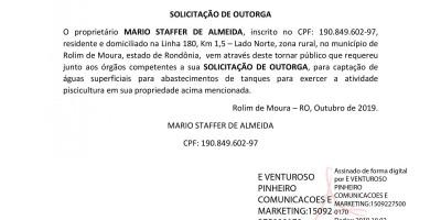 SOLICITAÇÃO DE OUTORGA - MARIO STAFFER DE ALMEIDA