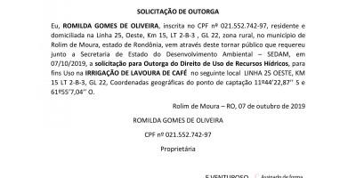 SOLICITAÇÃO DE OUTORGA - ROMILDA GOMES DE OLIVEIRA,