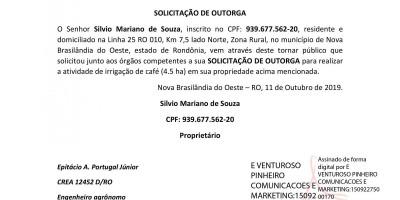 SOLICITAÇÃO DE OUTORGA - SILVIO MARIANO DE SOUZA