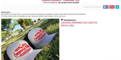 SORTEIO REALIZADO COM SUCESSO: 2 LINDOS BONÉS DO PORTAL TRIBUNA TOP