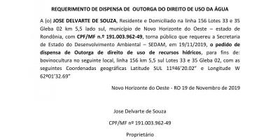 SOLICITAÇÃO DE DISPENSA DE OUTORGA - JOSE DELVARTE DE SOUZA