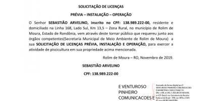 SOLICITAÇÃO DE LICENÇAS - SEBASTIÃO ARVELINO