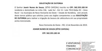 SOLICITAÇÃO DE OUTORGA - Joanir Nunes de Souza