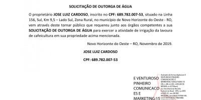 SOLICITAÇÃO DE OUTORGA - JOSE LUIZ CARDOSO