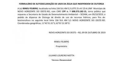 PEDIDO DE DISPENSA DE OUTORGA - IRINEU FELBERG