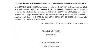 PEDIDO DE DISPENSA DE OUTORGA - MANUEL LINO PEREIRA