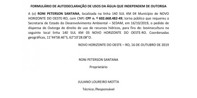 PEDIDO DE DISPENSA DE OUTORGA - RONI PETERSON SANTANA
